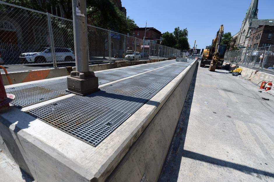 New, raised ventilators along 4th Ave above the express track to help prevent flooding below.