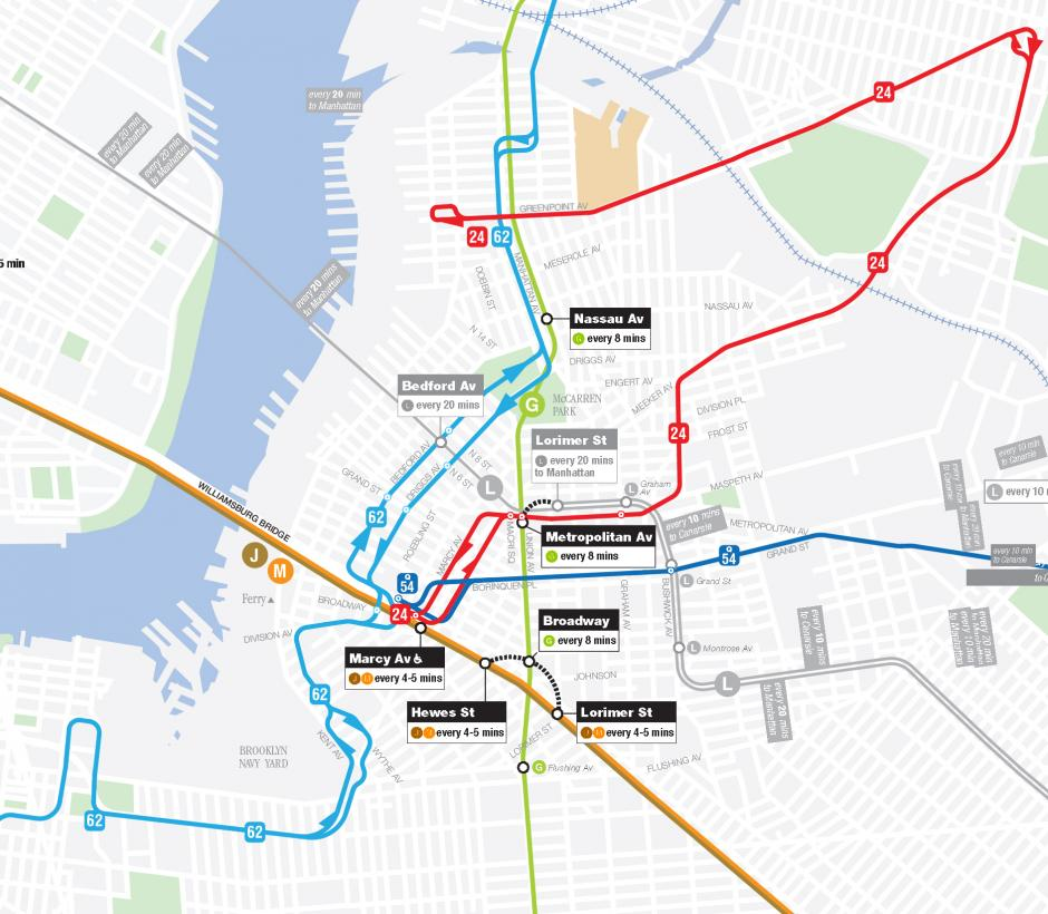 Map that shows subway and bus routes available through summer 2020 near the Bedford Av Station in Williamsburg, Brooklyn