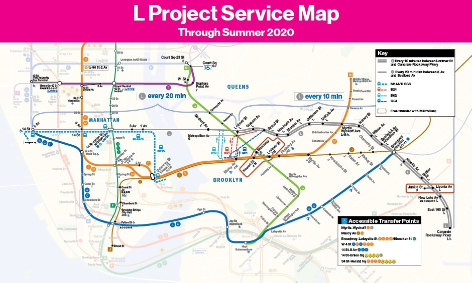 This is the map for all service options during the L Project, effective September 1, 2019 through summer 2020.