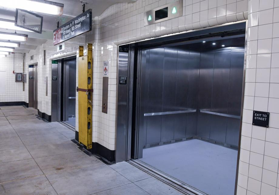 A photo of the new elevators at the 181 Street station at mezzanine level