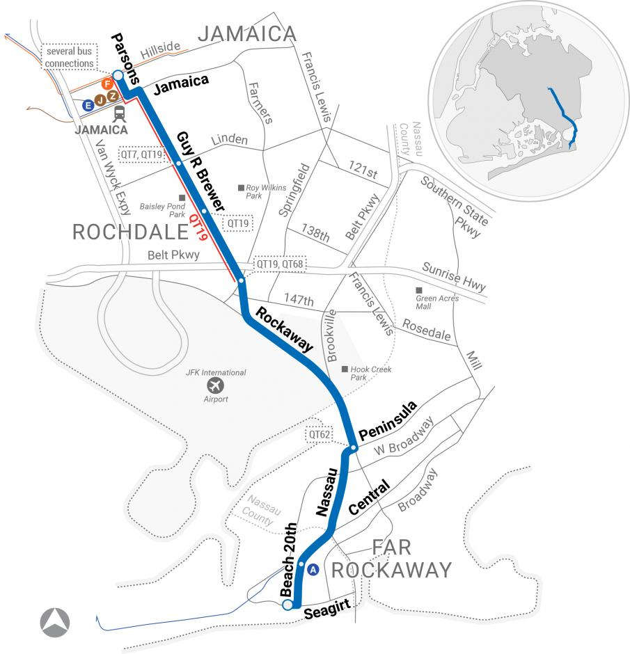 A map depicting the proposed route for the QT13 Jamaica-Far Rockaway