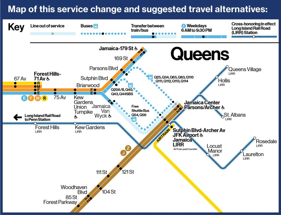 A map depicting the differen alternative travel options described on this page.